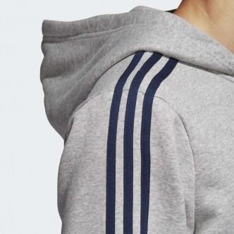 Adidas - FELPA CON CAPPUCCIO ESSENTIALS 3 STRIPES - GRIGIO