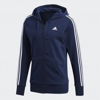 Adidas - FELPA CON CAPPUCCIO ESSENTIALS 3 STRIPES - BLU