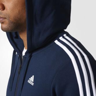 Adidas - FELPA CON CAPPUCCIO ESSENTIALS 3 STRIPES - BLU