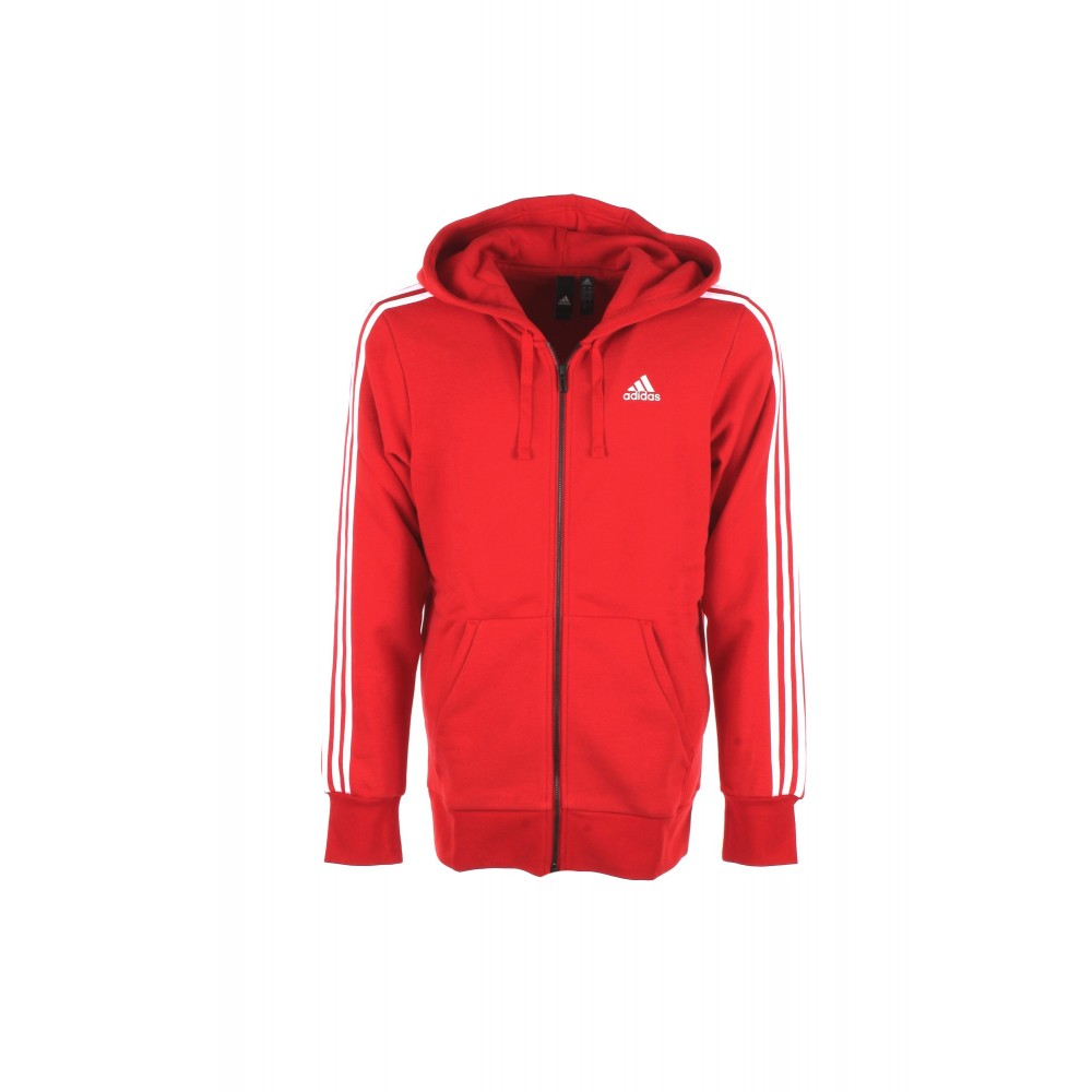Adidas - Essential 3 Stripes Felpa Full Zip Uomo - Rosso