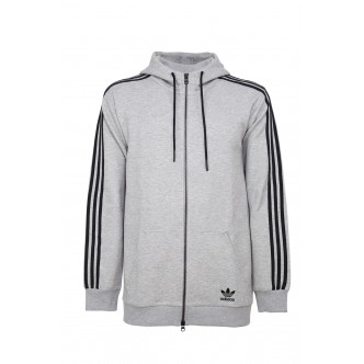 Adidas - Essential 3 Stripes Felpa Full Zip Uomo - Grigio