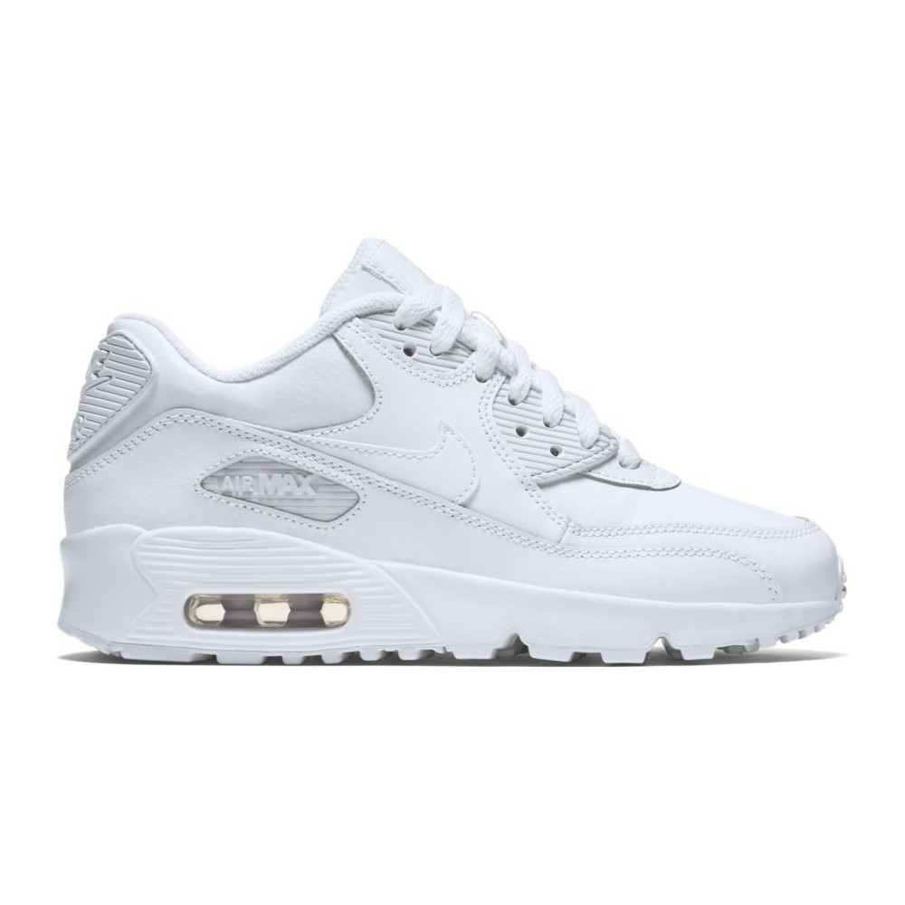 Nike Air Max 90 Leather (GS) Full White 833412 100