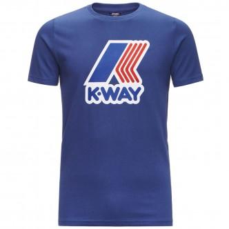 K-Way Pete Macro Logo T-Shirt Blu