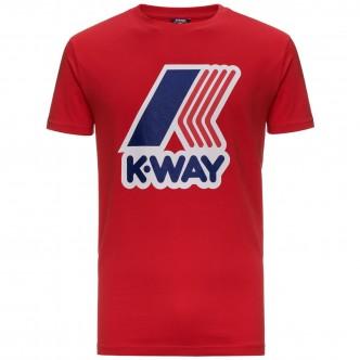 K-Way Pete Macro Logo T-Shirt Rossa