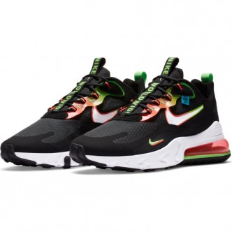 Nike Air Max 270 React SE. BLACK/WHITE-GREEN STRIKE-FLASH CRIMSON CK6457-001