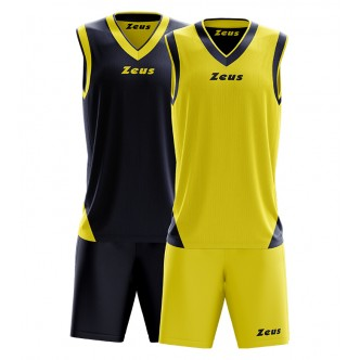 KIT DOBLÒ BLU GIALLO BASKET ZEUS SPORT COMPLETO DOUBLE FACE
