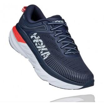 Hoka - Sneakers One One Bondi 7 - Blu/Arancio - Donna - 1110519-BIBBL