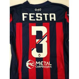MAGLIA UFFICIALE FC CROTONE PORTIERE BLU ROSSO 2017/2018 CON SPONSOR+ PATCH SERIE A (CORDAZ)(FESTA)